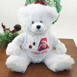 Christmas White Teddy Bear with Personalized Hooded Sweatshirt