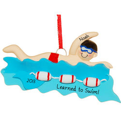 Personalized Learned To Swim Boy Ornament
