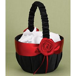 Black Rose Flower Girl Basket