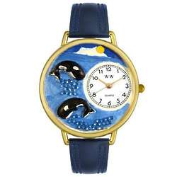 Whales Personalized Watch with Navy Blue Leather Band