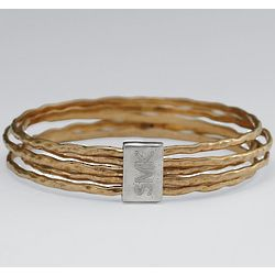 Small Hammered Connected Skinny Bangles