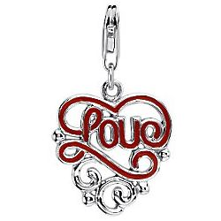 Red Enamel Love Charm in Sterling Silver