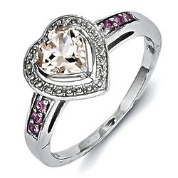 Morganite Heart Promise Ring with Pink Sapphires