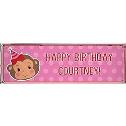 Girl's Personalized Oversized Party Monkey Birthday Banner
