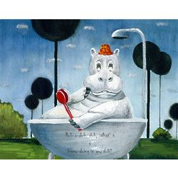 Personalized Hippo in a Tub Fine Art Print