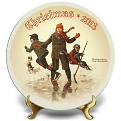 Norman Rockwell On Thin Ice Christmas 2013 Collector's Plate
