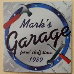 Personalized Fixin' Stuff Garage Plaque