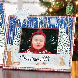 2013 Hand-Painted Christmas Woodland Scene Frame