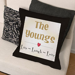 Personalized Live Laugh Love Throw Pillow