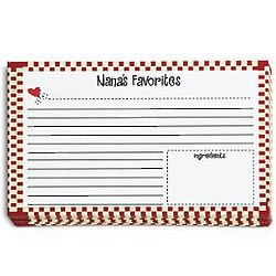 Personalized Red Gingham Recipe Cards