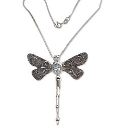 Emperor Dragonfly Blue Topaz Necklace