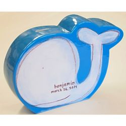 Personalized Whale Coin Bank in White