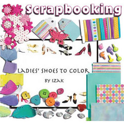Scrapbooking Ladies Shoes to Color Gift Bag