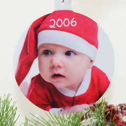 Holiday Color Photo Round Ornament
