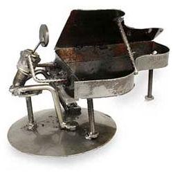 Rustic Piano Man Iron Statuette