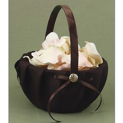 Brown Satin Flower Girl Basket