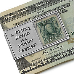 A Penny Saved Franklin Stamp Money Clip