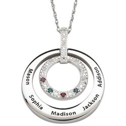 Family Name and Birthstone Circle with Diamond Accents