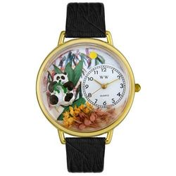 Personalized Panda Bear Watch with Black Leather Band