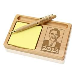 President Obama Wooden Notepad and Pen Holder