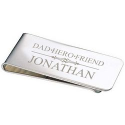 Personalized Silver Dad Money Clip