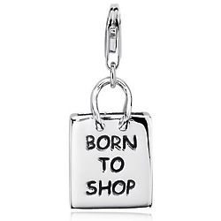 Born To Shop Shopping Bag Charm in Sterling Silver