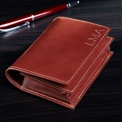 Personalized Brown Leather Card Case