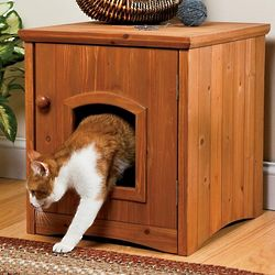 Wooden Cat Washroom Litter Box Cabinet
