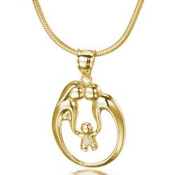 14K Gold Two Parent One Child Family Bond Pendant