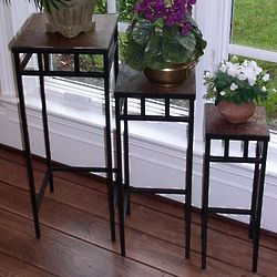 Slate Square Plant Stands