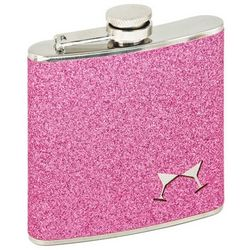 Cocktail Silhouette Pink Glitter Hip Flask