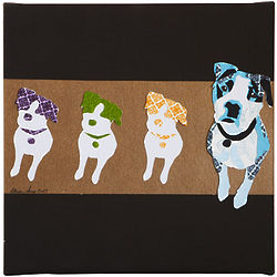 Blue Buddy Dog Collage Print on Canvas