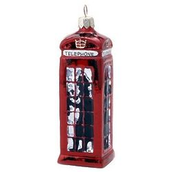 London Phone Booth Blown Glass Christmas Ornament