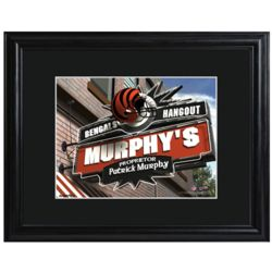 Cincinnati Bengals Personalized Tavern Print with Matted Frame