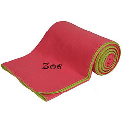Personalized Pink/Green Reversible Fleece Blanket