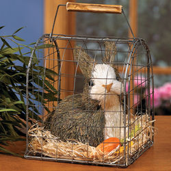 Straw Bunny in a Wire Cage