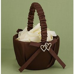 Linked Heart Brown Flower Girl Basket