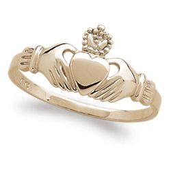 18K Gold Over Sterling Claddagh Ring