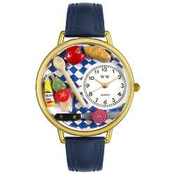 Gourmet Food Watch with Navy Blue Leather Band