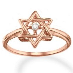 14K Rose Gold Star of David Diamond Promise Ring