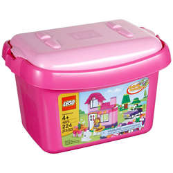 Pink Brick Box of LEGOs