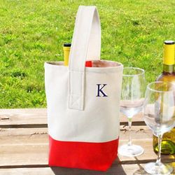 Color Dipped Personalized Wine Tote