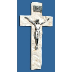 Pewter Wall Crucifix in Chiseled Jerusalem Stone