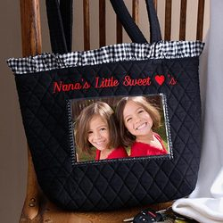Embroidered Quilted Photo Tote Bag