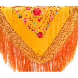 Hand Embroidered Tiger Eye Golden Spanish Silk Shawl