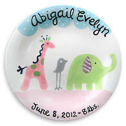 Girl's Safari Friends Personalized Birth Plate