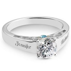 Sterling Silver Couples Birthstone Ring