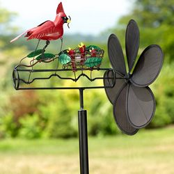 Cardinals Kinetic Spinning Garden Art Whirligig