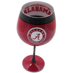 University of Alabama Artisan Hand Painted Wine Glass