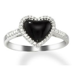 Black Onyx and Diamond 14K White Gold Heart Ring